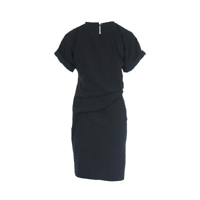 draping roll-up sleeve dress black